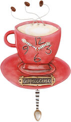 "Wall clock ""Cappuccino"", hand-painted ceramic"