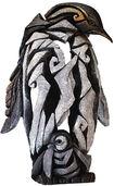 """Skulptur """"Pinguin mit Jungtier"""", Kunststein handbemalt"""