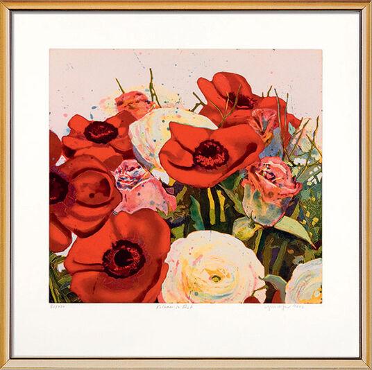 "Gerhard Hofmann: Bild ""Blumen in rot"", gerahmt"