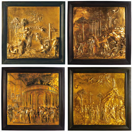 """Lorenzo Ghiberti: 4 reliefs from """"The Gates of Paradise"""""""