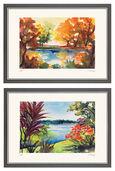 """2 Bilder """"Herbstsonne"""" und """"Blick auf See"""" im Set"""