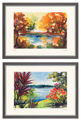"2 Paintings ""Autumn Sun"" and ""View to the Sea"" in a set"
