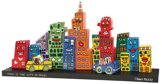 "James Rizzi: 10-teilige Assemblage ""Skyline"", Porzellan/Holz"