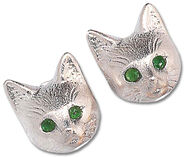 Stud earrings 'Silver Bastet'