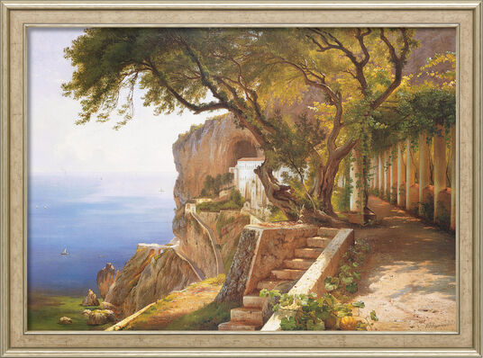 "Carl Frederic Aagaard: Painting ""Pergola in Amalfi"" in a frame"