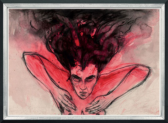 "Angela Hampel: Bild ""Meduse"" (1990er Jahre) (Original / Unikat), gerahmt"