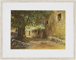 """Bild """"Gehöft mit Olivenbaum, Kreta"""", gerahmt"""