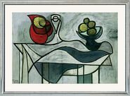 """Painting """"Mug and Fruit Bowl"""" in a frame"""