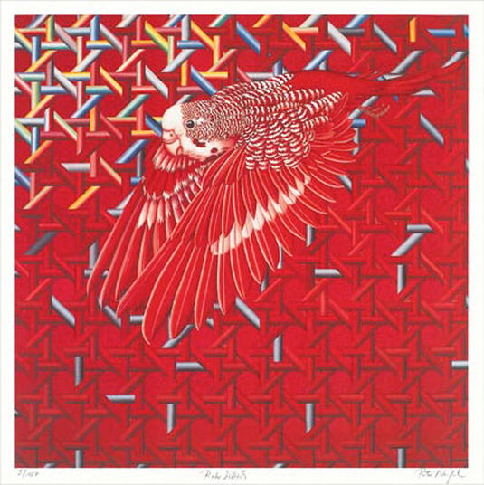 Peter Nagel: Painting 'Red Parrot', without frame