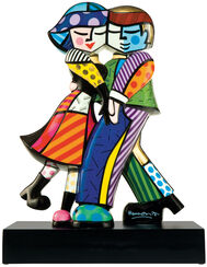 "Porcelain Sculpture ""Cheek to Cheek"", Painted by Hand"
