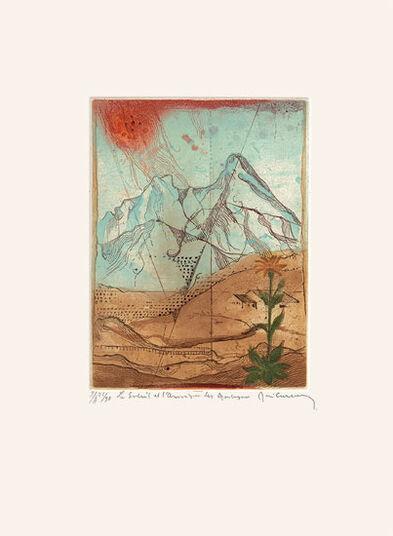 """René Carcan: Bild """"Le soleil et L'Arnique des Montagnes"""" (1981), gerahmt"""