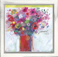 "Bild ""Lila Blumenstrauß mit roter Vase"" (2003) (Unikat)"