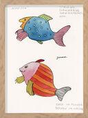 "Bild ""Lachfisch"" (1950er) (Original / Unikat), gerahmt"