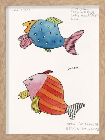 "Janosch: Bild ""Lachfisch"" (1950er) (Original / Unikat), gerahmt"