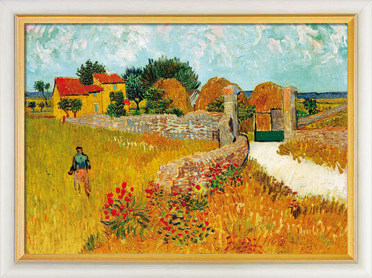 "Vincent van Gogh: Painting ""Un Mas de Provence (Farmhouse Provence)"" (1888) in museum framing"