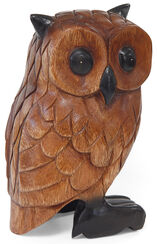 Hand-carved wooden owl