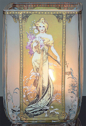 "Alphonse Mucha: Art Nouveau tea candle ""Spring"", glass"