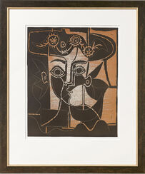 "Picture ""Big Woman head with decorated hat"" (1962), framed"