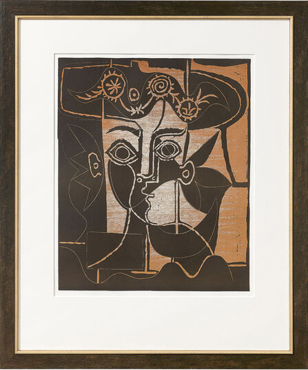 "Pablo Picasso: Picture ""Big Woman head with decorated hat"" (1962), framed"