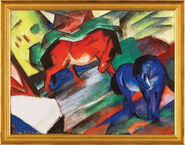 "Painting ""Red and Blue Horse"" (1912) in museum frame"