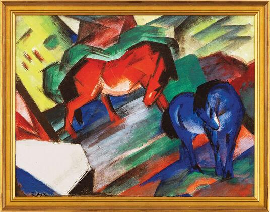 """Franz Marc: Bild """"Rotes und blaues Pferd"""" (1912), gerahmt"""