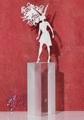 """Sternzeichen-Skulptur """"Steinbock"""" (22.12.-20.1.), Edelstahl auf Sockel"""