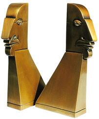 """Skulpturen """"Kleine Beziehungskiste"""" (2 Eggheads), Bronze"""