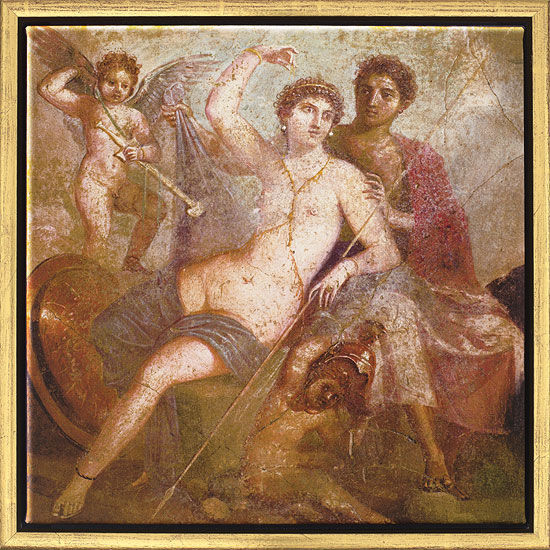 """Mural painting from Pompeii: Painting """"Mars and Venus"""""""