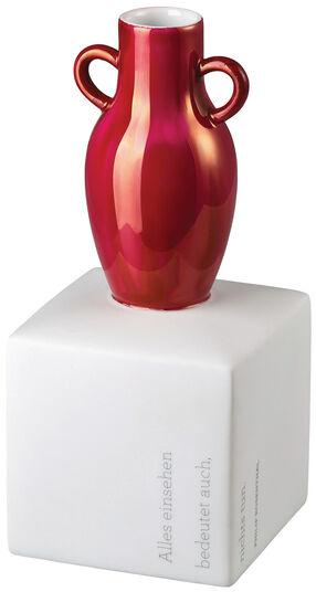 """Vase auf Podest """"Gedankenblitze - Lüster purpur"""" - mit Zitat """"Alles einsehen bedeutet auch, nichts tun."""""""