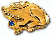 "Chinese zodiac sign of ""pig"" with birthstone lapis lazuli, necklace"