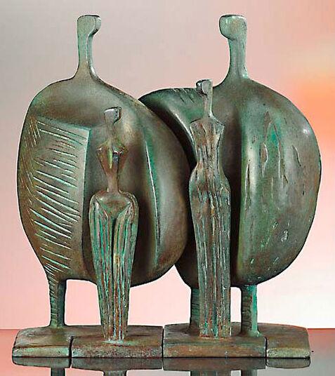 "Itzik Benshalom: Group of sculptures ""La Familia (The Family)"", art bronze"