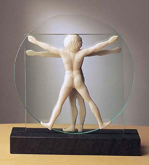 "Leonardo da Vinci: Skulptur ""Schema delle Proporzioni"", Version in Kunstmarmor"