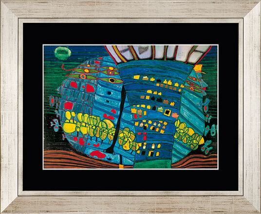 friedensreich hundertwasser bild der blaue mond. Black Bedroom Furniture Sets. Home Design Ideas