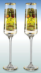 "Set of 2 champagne goblets ""Dragonfly"" - by Louis C. Tiffany"