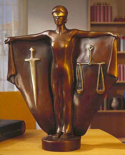 "Peter Hohberger: Sculpture ""Justitia"", bronze"