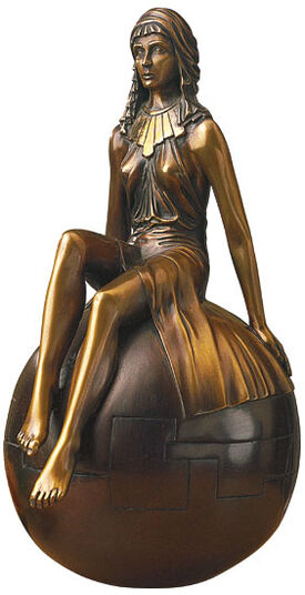 """Alfred Haberl: Sculpture """"Girl on Ball"""" in bronze"""