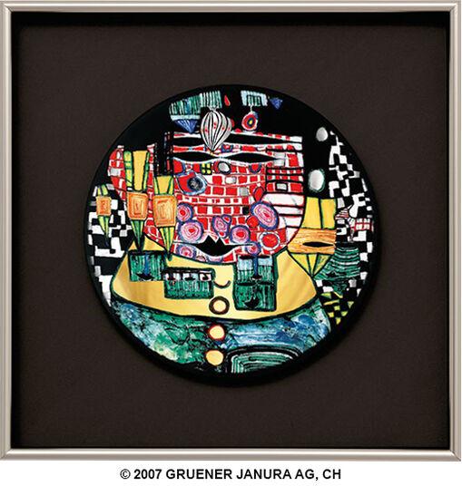 """Friedensreich Hundertwasser: (928B) Wandteller """"Die Antipoden"""", gerahmt"""