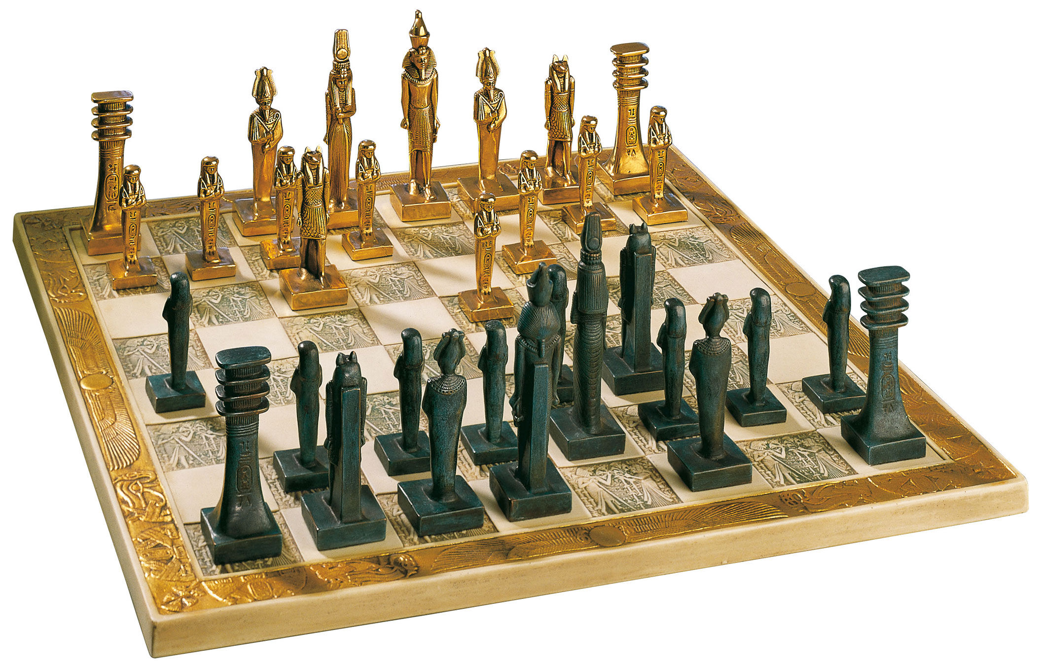 Stunning egyptian design chess game figurines board - The chessmen chess set ...