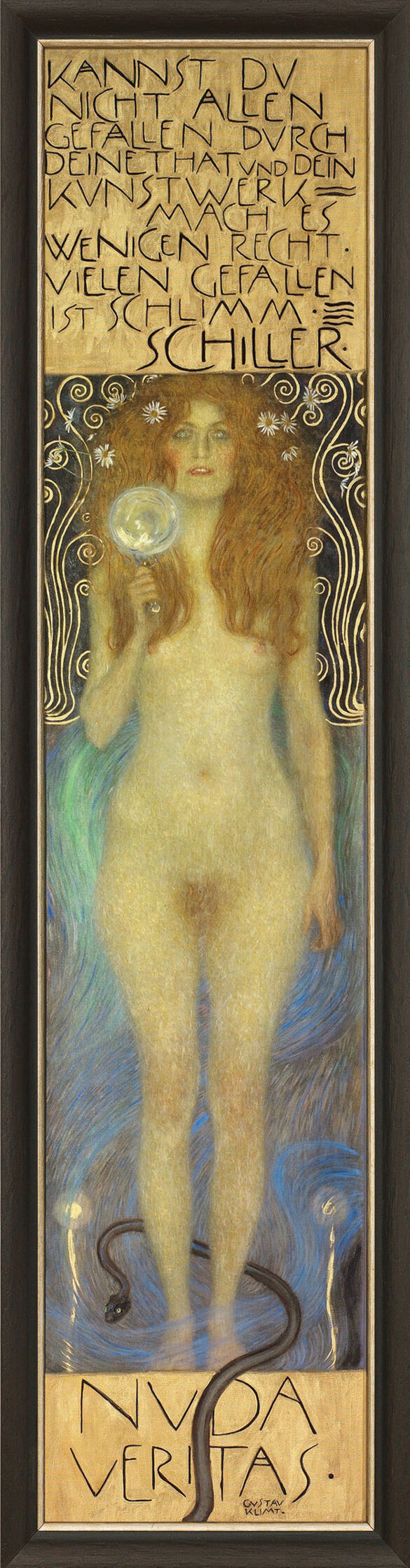 """Painting """"The Naked Truth - Nuda Veritas"""" (1899) in a frame"""