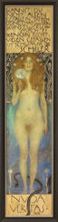 "Painting ""The Naked Truth - Nuda Veritas"" (1899) in a frame"