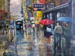 "Bild ""In der Stadt bei Regen"" (2017) (Unikat)"