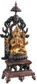 Bodhisattva auf dem Lotusthron, Metallguss teilvergoldet