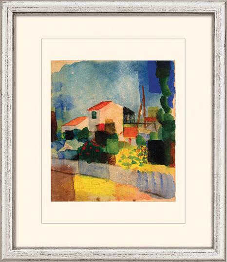 """August Macke: Bild """"Das helle Haus"""" (1914), gerahmt"""
