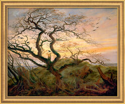 """Painting """"Tree with a Crow"""" in museum framing"""