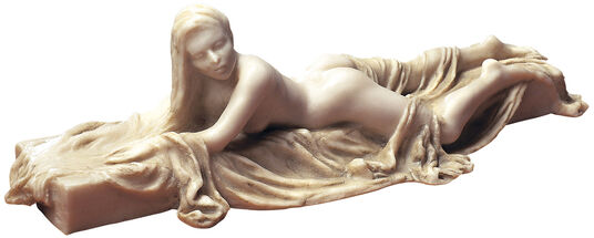 """Meta Morfosi: Sculpture """"Lying Act with Towel I"""", version in artificial marble"""