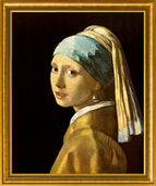 "Painting ""The Girl with A Pearl Earring"" (1665), Framed"