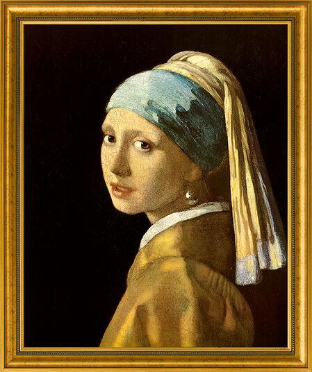 "Jan Vermeer van Delft: Bild ""Das Mädchen mit dem Perlenohrring"" (1665), gerahmt"