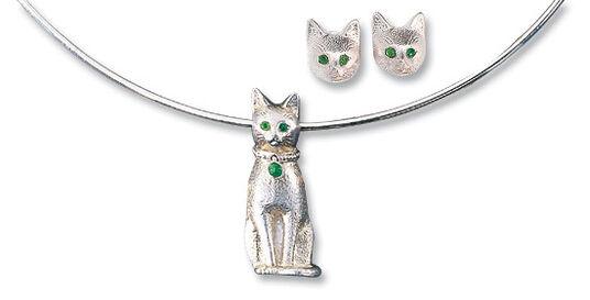 "Christiane Wendt: Jewellery set ""Silver Bastet"""
