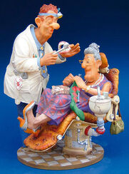 "Caricature ""The Dentist"", hand painted, art castings"