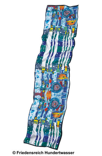 "Friedensreich Hundertwasser: (944) Silk Scarf ""Blue Blues"" with Silver Print"